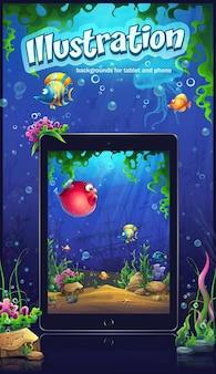 タブレットやスマートフォンの海洋イラスト