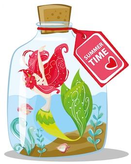 海洋のイラスト。ボトルの小さなかわいい漫画赤い髪の人魚は、夏の休日の漫画イラストです。