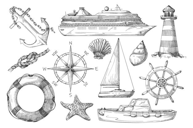 Marine item. black-and-white ship, anchor, lighthouse, rope knot, nautical compass, dinghy, lifebuoy, steering wheel, sailboat, starfish, shell sketch illustration.   set on background
