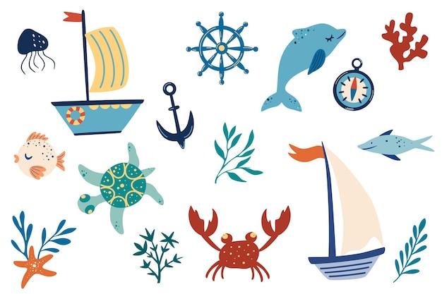 マリンアイテムセット。船、イルカ、藻類、魚、カニ、錨。手描きの海洋装飾ベクトルイラスト。白い背景で隔離の海のコレクション。