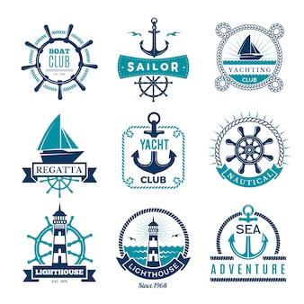 Морские этикетки. морской логотип парусные лодки веревка и значки в обрамлении морского узла