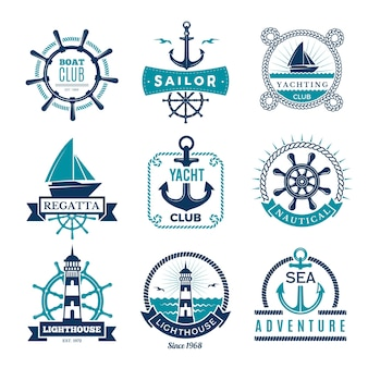 Marine labels. nautical logo sailing boats rope and marine knot framed badges