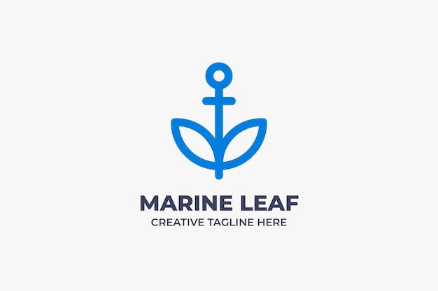 Marine leaf sailor monoline business logo