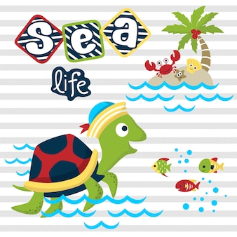 Marine life cartoon with cute turtle on striped background