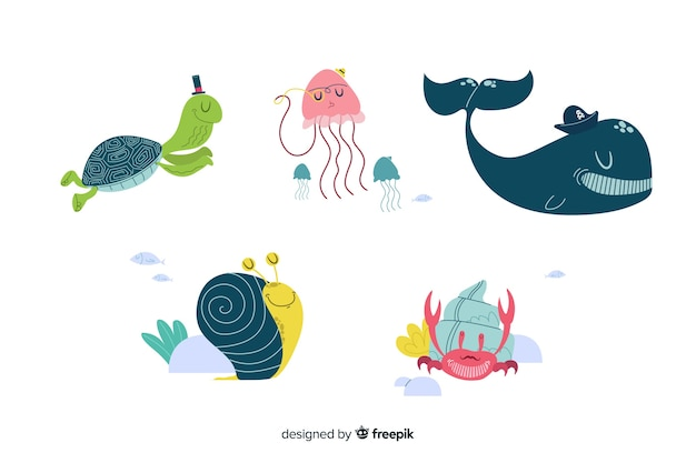 Marine life character collectio