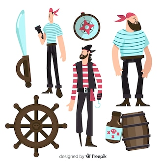 Marine life character collection flat design