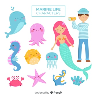 Marine life character collection