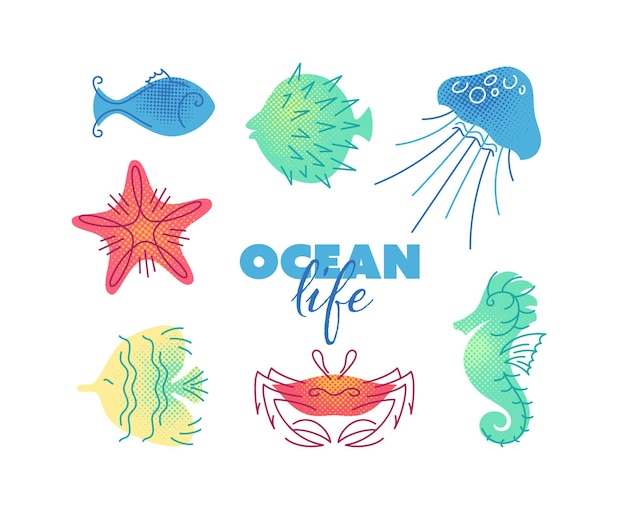 Морская жизнь цветные плоские иллюстрации. изолированные значки, морские и океанские существа.