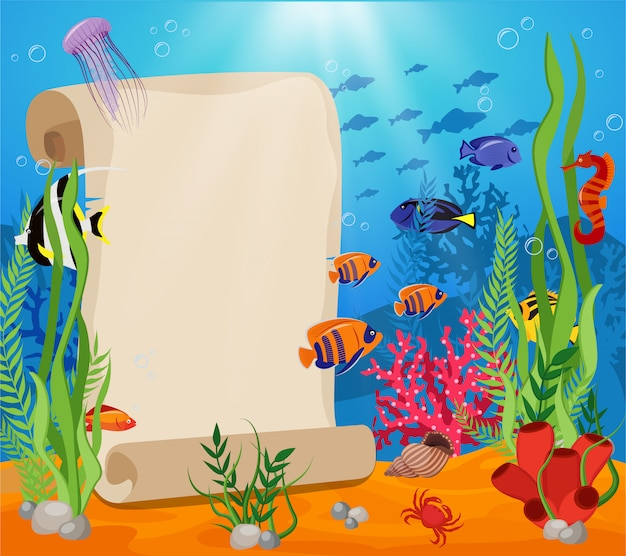 Marine life composition with white sheet for text and fish crabs algae and underwater world around