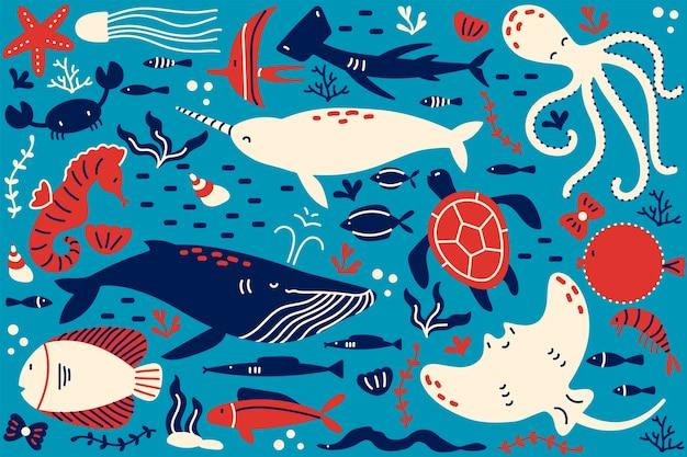 海洋生物落書きセット。さまざまな海と海の魚の手描きテンプレートパターンのコレクションサメカメタコカキ。野生動物環境自然イラストの動物。