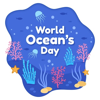 Marine life hand drawn oceans day