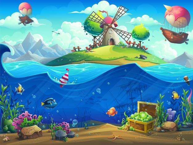 Marine life landscape illustration