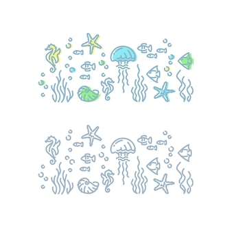 Marine life outline illustration. isolated on white sea and ocean creatures.