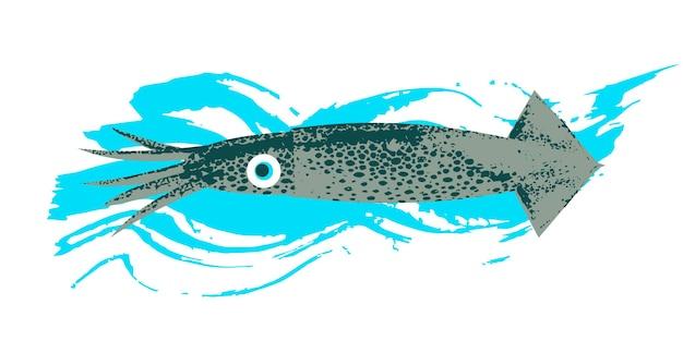 해양 생물. 해물. 칼마르. 파란색 질감 파도와 흰색 배경에 벡터 일러스트 레이 션. 독특한 손으로 그린 질감이 있는 그림.