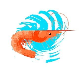해양 생물. 해물. 새우. 파란색 질감 파도와 흰색 배경에 벡터 일러스트 레이 션. 독특한 손으로 그린 질감이 있는 그림.