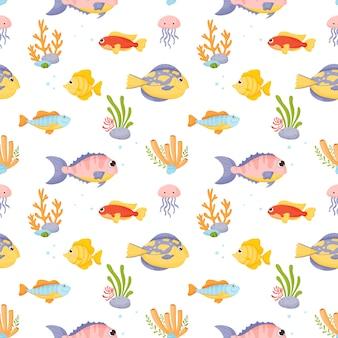 Marine life.  set in cartoon style isolated on white background.