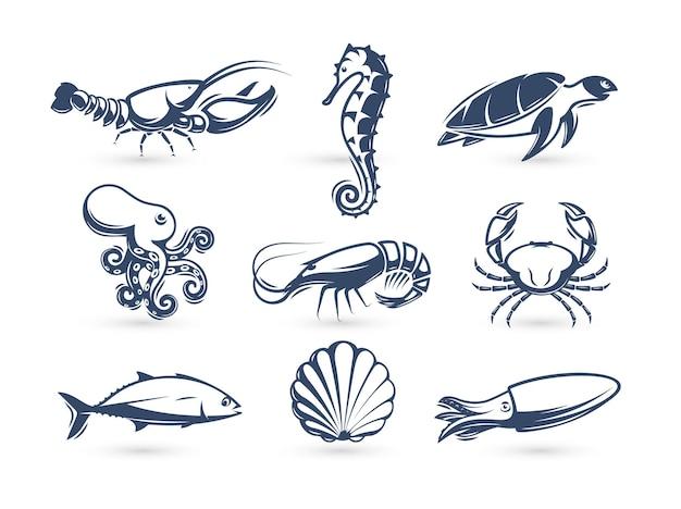 Набор иконок силуэта морской жизни для меню бара или ресторана морепродуктов