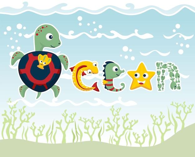 Marine life with funny animals cartoon vector