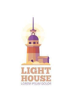 Marine lighthouse vector safety logo template