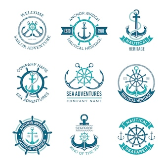 Marine logo. nautical  emblem with ship anchors and steering wheels. cruise boat sailor monochrome symbols for badges