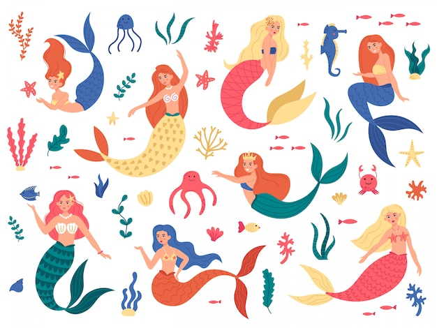 Marine mermaids. cute mermaid princess, fairy mermaid girls with ocean marine elements, hand drawn magic underwater world  illustration set. seahorse swimming, octopus and colored mermaid