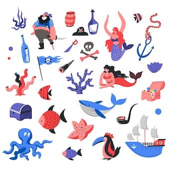 Marine and nautical life, underwater sea and ocean dwellers