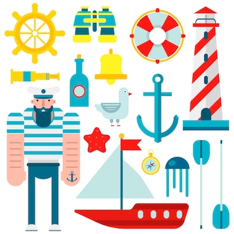 Marine nautical sailor symbols and vector flat icons