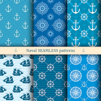 Marine, nautical, sea vector seamless patterns set
