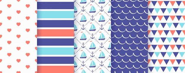 Marine nautical seamless pattern.   illustration. sea backgrounds.