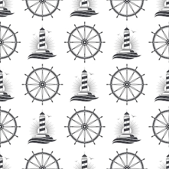 Marine nautical seamless pattern  with vintage lighthouse and wheel