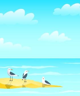 砂州のデザイン、波と雲の航海の青いグリーティングカードの背景デザインの海の海とカモメ。