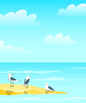 Marine ocean and seagulls on sandbank design, waves and clouds nautical blue greeting card background design.