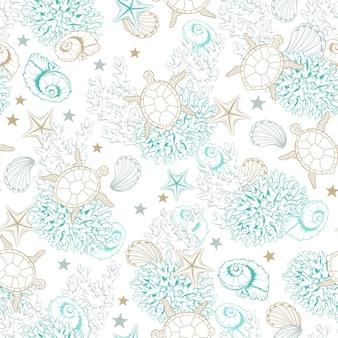 マリンパターン背景、海の貝のラインアート
