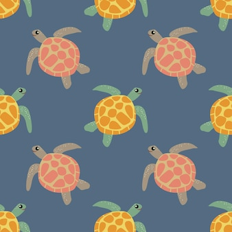 Marine pattern. sea turtle. seamless vector pattern. background, concept for wallpaper, wrapping paper, cards