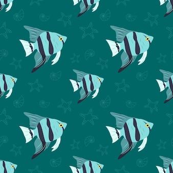 Морской узор с рыбой морская звезда