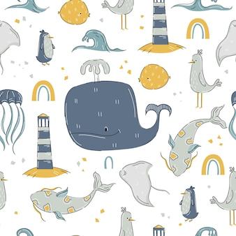 고래, 바다 물고기, 등대가 손으로 그린 만화 스타일의 해양 패턴