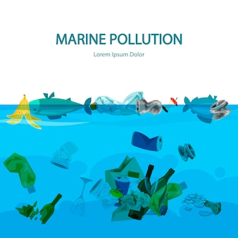 Marine pollution background with water and garbage