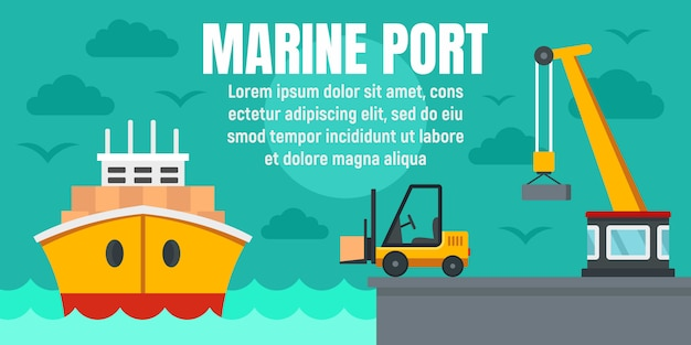 Marine port cargo ship concept banner template, flat style