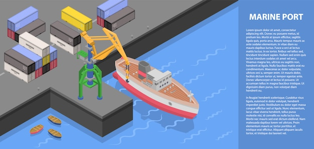 Marine port concept banner, isometric style