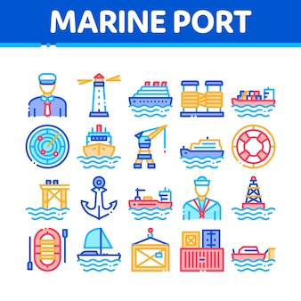 Marine port transport collection icons set
