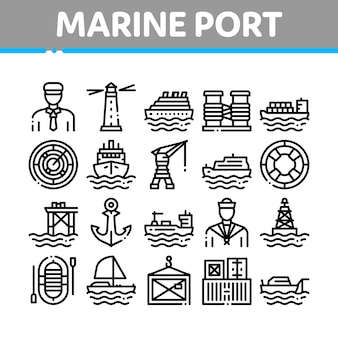 Marine port transport collection icons set