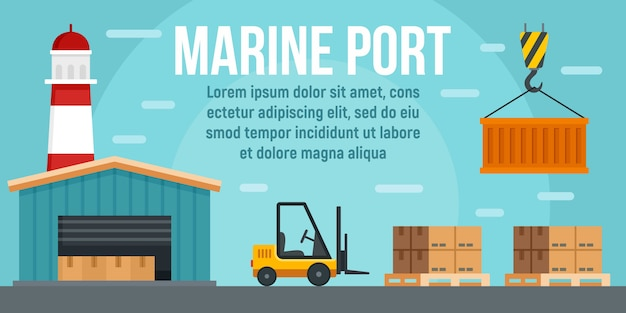 Marine port warehouse concept banner template, flat style
