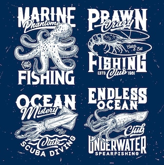 マリンエビ釣り、オーシャンスキューバダイビングクラブ。タコとエビまたはエビ、イカまたはイカが刻まれています。