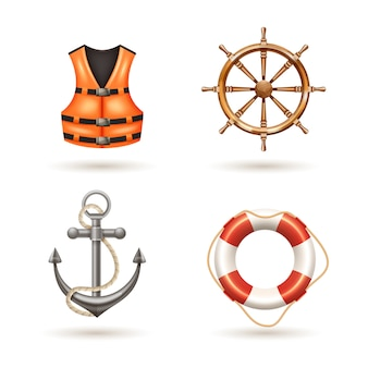Marine realistic icons set with anchor life buoy life jacket and helm