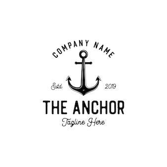 Marine retro emblems logo with anchor, anchor logo - vector