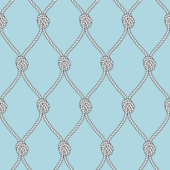 Marine rope fishnet with knots seamless background. nautical repeating texture.