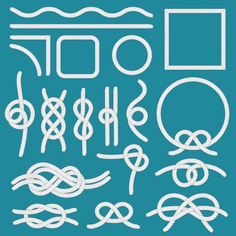 Marine rope knot. ropes frames, cordage knots and decorative cord divider isolated  set