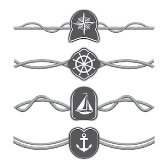 Marine ropes vector dividers and borders.