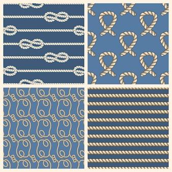 Marine ropes vector seamless patterns set