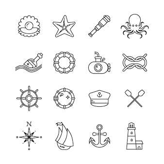 Marine, sea, nautical thin line vector icons